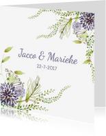 Trouwkaarten - Trouwkaarten Aquarel paars boeket