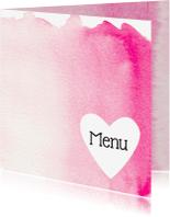 Menukaarten - Trouwmenu roze aquarel hart