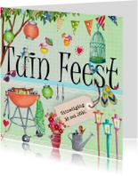Uitnodigingen - Tuinfeest BBQ Party Tuin Feest Letters