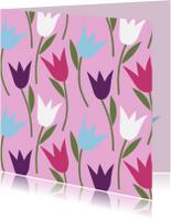 Bloemenkaarten - Tulpen roze paars blauw wit