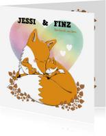 Geboortekaartjes - Tweeling geboortekaartje jongen meisje met vos en kleintjes