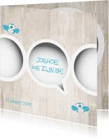 Geboortekaartjes - Tweeling geboortekaartje jongens van Mo Cards met uiltjes