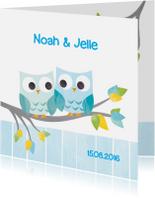 Geboortekaartjes - Tweeling jongens uiltjes in boom