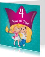 Verjaardagskaarten - Tweeling meisjes kroon
