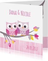 Geboortekaartjes - Tweeling meisjes uiltjes in boom