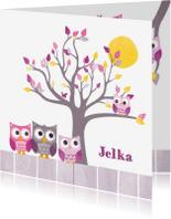Geboortekaartjes - Uiltjes familie met boom