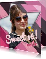 Uitnodigingen - Uitnodigin Sweet16 Ster 1LS3