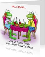 Uitnodigingen - Uitnodiging  2 kikkers eten aan tafel