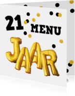 Uitnodiging 21-diner menukaart confetti goud zwart