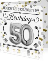 Uitnodigingen - Uitnodiging 50 jaar ballon zilver - SG
