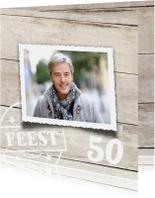 Uitnodigingen - uitnodiging 50 jaar - hout print