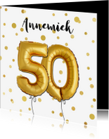 Uitnodigingen - Uitnodiging 50 met ballonnen en confetti