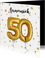Uitnodiging 50 met ballonnen en confetti