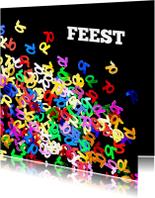Uitnodigingen - Uitnodiging 70 jaar confetti