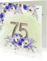 Uitnodigingen - Uitnodiging 75 jaar anemonen