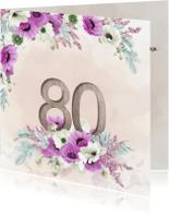 Uitnodigingen - Uitnodiging  80 jaar anemonen