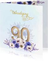 Uitnodigingen - Uitnodiging 90 jaar anemonen