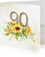 Uitnodigingen - Uitnodiging 90 jaar zonnebloemen