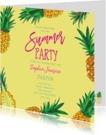 Uitnodigingen - Uitnodiging Ananas trendy geel