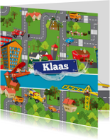 Kinderfeestjes - Uitnodiging auto vervoer voertuigen plattegrond
