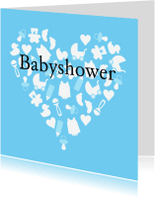 Uitnodigingen - Uitnodiging babyshower boy heart