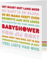 Uitnodigingen - Uitnodiging Babyshower Letters Bijna