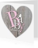 Uitnodigingen - Uitnodiging babyshower letters houtlook hart