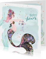 Uitnodigingen - Uitnodiging babyshower zeemeermin