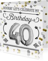 Uitnodigingen - Uitnodiging ballon zilver 40 - SG