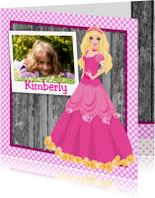 Kinderfeestjes - uitnodiging barbie prinses roze eigen foto