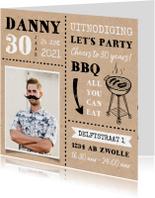 Uitnodiging BBQ tuinfeest verjaardag man