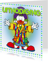 Uitnodigingen - Uitnodiging Clown-MS