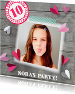 Kinderfeestjes - Uitnodiging confetti hartjes