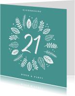 Uitnodigingen - Uitnodiging etentje 21 diner hip en trendy met blaadjes