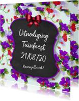 Uitnodigingen - Uitnodiging feest bloemen en krijtbord