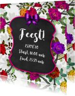 Uitnodigingen - Uitnodiging feest bord en bloemen