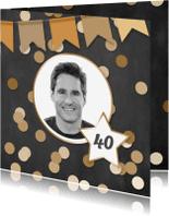 Uitnodigingen - Uitnodiging feest confetti en foto