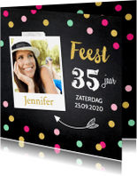 Uitnodigingen - Uitnodiging feest foto roze confetti
