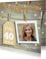Uitnodigingen - uitnodiging feest gouden confetti