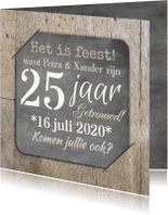 Jubileumkaarten - Uitnodiging feest hout en foto