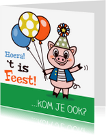 Kinderfeestjes - Uitnodiging - feest varken - TW