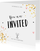 Uitnodigingen - Uitnodiging feestje borrel pop the champagne