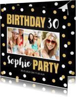 Uitnodigingen - Uitnodiging feestje fotocollage confetti goud krijtbord