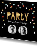 Uitnodigingen - Uitnodiging feestje goud zwart confetti vrolijk