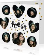Uitnodigingen - Uitnodiging fotocollage feest confetti zwart goud