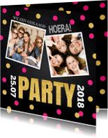 Uitnodigingen - Uitnodiging geslaagd confetti foto krijtbord