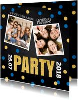 Uitnodigingen - Uitnodiging geslaagd foto confetti krijtbord