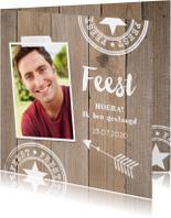 Uitnodigingen - Uitnodiging geslaagd foto houtprint