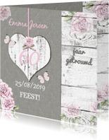 Jubileumkaarten - Uitnodiging hart van hout