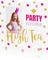 Uitnodigingen - Uitnodiging High Tea confetti goud roze